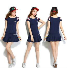 Wholesale Hot Spandex Mini Skirts - Navy baseball sets Girl sport shirt Hot Tennis training short skirt dresses Fashion clothing fitness wear Exercise sportwear