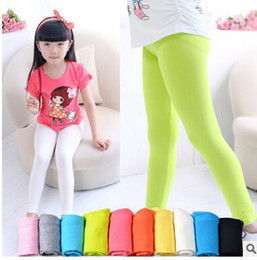 Wholesale Girls Purple Green Leggings - girls leggings girl pants new arrive Candy color Toddler classic Leggings 2-13Y children trousers baby kids leggings