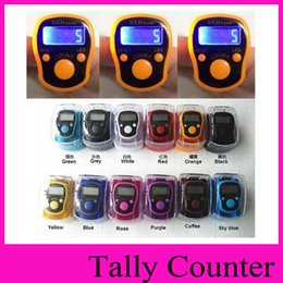 Wholesale Tally Wholesale - 12 colors ABS digital LED electronic tally counter 0-99999 Manual new FingerRing Tally ring finger counter + box packing