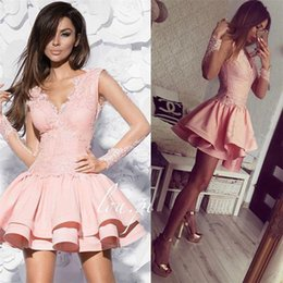 Wholesale Hot Pink Pageant Cocktail Dresses - Hot Selling Exquisite Short Prom Dresses V-Neck Long Sleeve Tiered Pageant Gowns Applique Lace Cocktail Party Dress Custom Made