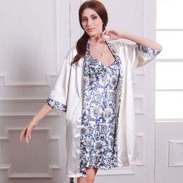Wholesale Wholesale Plus Size Satin Robes - Wholesale- 2Pcs Women's Silk Satin Both Robe Kimono Nightgown Pajama Sets Women Nightgown Sleepwear Plus Size Nightwear For Spring SY_7405