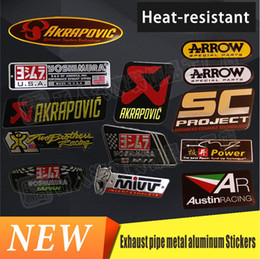 Wholesale Heat Abs - 3D Aluminium Heat-resistant Motorcycle Exhaust Pipes Decal Sticker Cool Personality Scorpio Mivv AustinRACING Yoshimura Universal Stickers