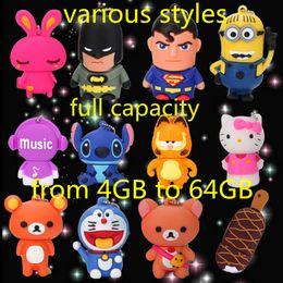Wholesale Disk 16gb Flash Memory - Full real capacity cartoon USB 2.0 flash pen drive flash disk u-disk 4gb 8gb 16gb 32gb 64gb memory stick various styles DHL