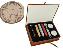 Wholesale Pictures Cows - Vintage Custom Picture Cow Wax Seal Stamp Kit Gift Box Set Wedding Invitation