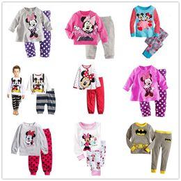Wholesale Minnie Children Suit - 6 sets lot Children Baby Girls Boys Kids Mickey Minnie Mouse Batman Full Sleeve Pajamas Suit Boy's Girl's Sleepwear Homewear Pyjamas Sets
