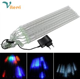 Wholesale Outdoor Christmas Decorations Uk - 20cm 30cm 50cm rain tube 100-240V 8pcs set LED Strip Light Christmas lamp Waterproof outdoor EU US  UK AU