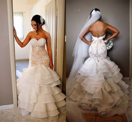 Wholesale Heart Missing - 2018 Arabic Lace Mermaid Wedding Dresses Sweet Heart Chapel Train Cascading Ruffles Illusion Bodice Plus Size Bridal Gowns Customized Cheap