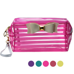 Wholesale cute pouch bag - New Brand 2016 Fashion Cute Travel Makeup Bags Transparent Waterproof Cosmetic Bags Cases Striped Toiletry Bathing Pouch PVC