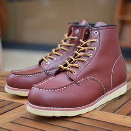 Wholesale desert tan - Fsomnus England boots Ankle Boots Martin Boots Full Grain Leather Martin boots desert boots wine red boots