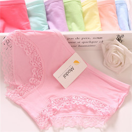 Wholesale Girls Underwear Model - Ladies lace low waist underwear ladies underwear model Candy-colored girls briefs wholesale
