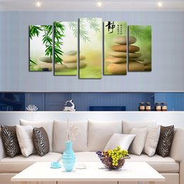 Wholesale Cheap Framed Canvas Art - 2016 New Arrival 5 Panel Wall Art Botanical Green Oil Painting On Canvas Abstract Paintings Cheap Pictures No Frame