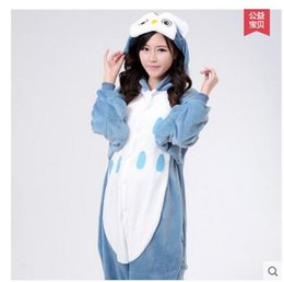 Wholesale Hot Kigurumi - New Hot Sale Lovely Cheap Blue Owl Kigurumi Pajamas Anime Pyjamas Cosplay Costume Unisex Adult Onesie Dress Sleepwear Halloween S M L XL