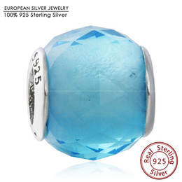 Wholesale Round Faceted Glass Stones - Blue Crystal CZ Geometric Facets Charm Beads 925 Sterling Silver Big Stone Faceted Bead Diy Winter Brand Bracelets Fine JewelryWinter Sky Bl