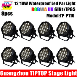 Wholesale Outdoor Led Dmx - Discount Price 8 Unit 12x18W Waterproof Led Par Light 6in1 RGBWA Purple DMX512 Disco Party Club Pub Show Stage Wedding Outdoor