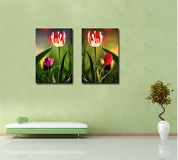 Wholesale Tulips Painting Abstract - Contemporary Fine Floral Painting Tulip Flower Giclee Print On Canvas Wall Art Set20154
