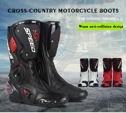 Wholesale White Motorcycle Race Boots - PRO-BIKER SPEED BIKERS Motorcycle Boots Moto Racing Motocross Off-Road Motorbike Shoes Black White Red Size 40 41 42 43 44 45