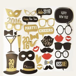 Wholesale Wedding Favors Glass Photo - Wholesales Funny Mustache Stick Wedding Fun Favors Birthday Party Decorations Christmas Taking Photos Tools Lips Moustaches Glasses