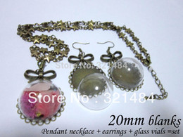 Wholesale Earring Covered Trays - 10set 20mm round star chain necklace pendant tray and earrings bezel blank with glass vials dome covers set GVP-028