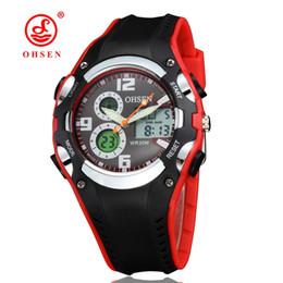 Rote uhren für jungen online-2017 neue OHSEN Marke digitale Quarz Sportuhr Armbanduhr Kinder Jungen wasserdicht Silikonband Mode digitale rote Uhren
