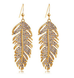Wholesale Love Dangle Earrings - Wholesale Silver Gold 18K Gold Plated White Gold Austrian Crystals Feathers Love Dangle Earrings for Women Wedding Jewelry Fashion Earrings