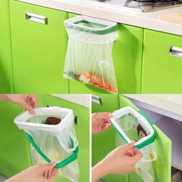 Wholesale Kitchen Cabinet Steel - creative back door stainless steel trash bag shelf storage hook multifunctional kitchen cabinet door hanging racks