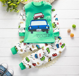 Wholesale Kids Under Pants - newborn baby boy girls cotton+velvet Pullovers+pants outfit baby cartoon design mmclothing kids under wear sets children jumper+pants CQZ082