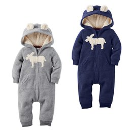 Wholesale Warm Infant One Piece Clothing - 2016 New Autumn Winter Baby Thick Hooded Romper Christmas Deer Warm One-Piece Jumpstuits Xmas Infant clothes 2 Colors