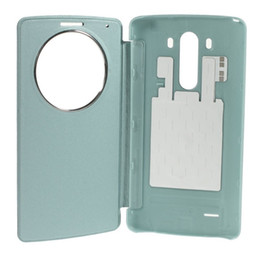 Wholesale Nfc Case - G3 Smart Circle View Window PU Leather Case Cover for LG g3 replacement brush PC battery housing cases with NFC QI Wireless Charging IC Chip