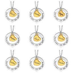 Wholesale Trendy Golden Chain - Golden Peach Heart Family Pendant Forever in Heart Circle Mom and Daughter Sister Necklace YP024 Arts and Crafts pendant with chain