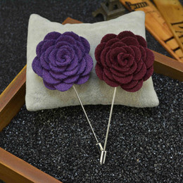 Wholesale Woolen Suits For Men - flower Brooch lapel Pins handmade Boutonniere Stick with Woolen cloth Camellia Flowers for suit Men Accessories 17 color Price Cheap Fashion