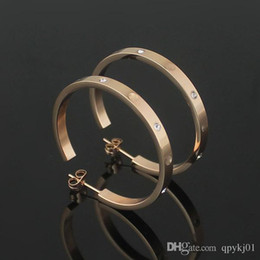 Wholesale Love Hoop Plating Earrings - High quality 316L Stainless Steel love hoop earrings with crystal big earrings for women men Couples fine jewlery wholesale