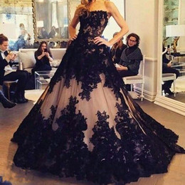 Wholesale Cheap Nude Formal Dresses - 2016 Arabic Hot Cheap Black Full Lace Evening Dresses Wear Strapless Nude Tulle Appliques Sweep Train Long Formal Vestidos Prom Party Gowns