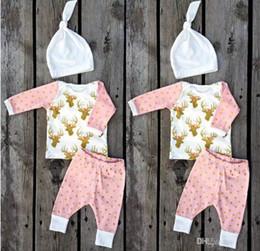 Wholesale Polka Dot 3pcs - Infant Boys Girls Xmas Deer Pink gold dot T-shirt tops & baby ins polka Pants & infant white caps hats 3pcs Baby Outfits Set 2year