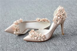 Wholesale Custom Bridesmaid Shoes - Custom wedding dress shoes with diamond satin champagne flower high pointed shoes bridesmaid spring and summer
