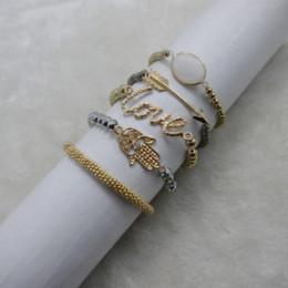 Wholesale Food Gold Leaf - Free shipping Fashion Vintage metal Palm & love & arrow beads bracelet multilayer multi-layer bracelet Cheap bracelet leaf