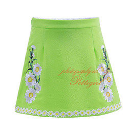 Wholesale Wholesalers Sell Embroidery Clothing - Hot Selling Pettirl Embroidery Girl Skirt Daisy Flowers American and European Style Green A-Line Knee-length Kids Clothes ST90312-687