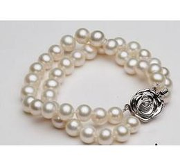 Wholesale South Sea Pearls Rings - Charming double strands 9-10mm round south sea white pearl bracelet 7.5-8 inch S925 silver