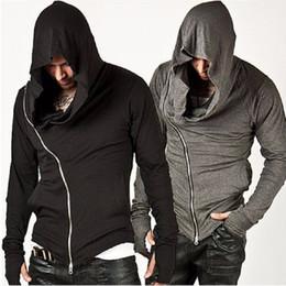 Wholesale Solid Color Hooded Cardigans - Assassins Creed Men's Hooded Hoody Autumn Sweatshirt Male Assassin's Zipper Streetwear Black Grey Hoodies Men Sportsman Suits Tracksuit