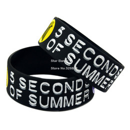 "Wholesale Silicone Bracelet Id - wholesale  1PC 5SOS 1"" Wide Silicone Wristband Bracelet For Music Fans Adult Size"