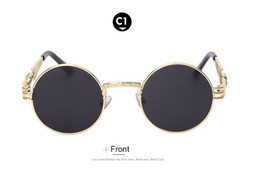 Wholesale Metal Sights - Gothic Steampunk Sunglasses Men Women Metal WrapEyeglasses Round Shades Brand Designer Sun glasses Mirror High Quality