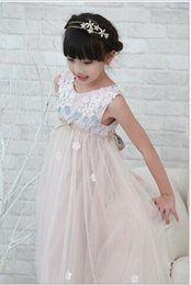 Wholesale Lolita Clothing For Kids - 2016 Summer Children's Sleeveless Floral Lace Dresses Kids Clothes Princess Dress Children Party Dresses for Baby Girl Dress Age 3T-10T