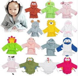 Wholesale Cute Baby Boy Pajamas - Cute Newborn Baby Hooded Pajamas Animal Baby Bathrobe Cartoon Cotton Baby Towel Newborn Bath Robe Infant Toddler Bath Towels Photo Props