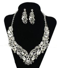 Wholesale Crystal Earrings Tear - Crystal Rhinestone Wedding Bridal Party Tear Drop Earring Necklace Jewelry shiny rhinestone Set hot sell HT109