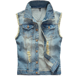Wholesale Ripped Vest - Fall-Big Size Ripped Vintage Cowboy Waistcoat Washed Male Jean Vest Mens Sleeveless Denim Jacket Plus Size 5XL 6XL Light Blue