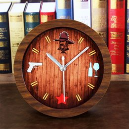 Wholesale Wood Spirits - American free spirit USA Cowboy style creative small alarm clock European retro imitation wood clocks table ultra-quiet watch