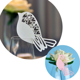 Wholesale Place Cards For Baby Shower - Laser Cut Small Bird Table Mark Escort Wine Glass Name Place Cards for Wedding Event Decoration Baby Shower Favor Party Supplies Decor