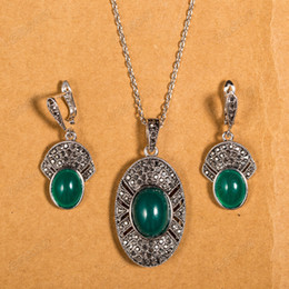Wholesale Malachite Antique - Cason Hot Sale New Arrival Antique Silver Malachite Earrings & Pendant Necklaces Women Vintage Jewelry Sets GDrop Shipping XS122