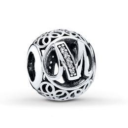 Wholesale Pandora Alphabet - wholesale  925 Stering Silver Charm Alphabet M Beads Fits Pandora Charms Bracelets Letter M with Clear CZ Women DIY Jewelry X 1
