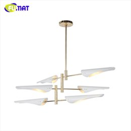 Wholesale E14 Fitting - Propeller Pendant Lights Postmodern Personality Art Deco Metal Suspension Lamp Living Room Light Fitting White Black LED