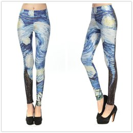 Wholesale Black Milk S - Wholesale-S--XL New Arrival Women Galaxy Van Gogh Starry Night Leggings Fashion Brand Black Milk Plus Size Pants Leggings